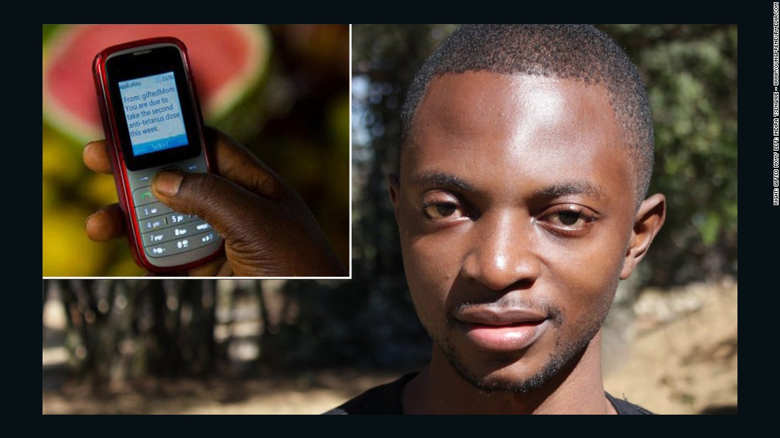 Cameroonian entrepreneur Alain Nteff is the co-founder of Gifted Mom, a mHealth startup using low-cost technology, pictured inset, to provide medical advice to women in rural areas.
