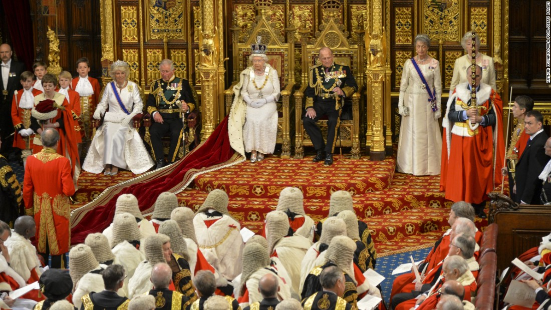 The Queen waits to give her speech during the state opening of Parliament in May 2015.