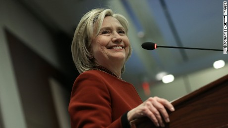 Former U.S. Secretary of State Hillary Clinton speaks at an award ceremony for the 2015 Toner Prize for Excellence in Political Reporting March 23, 2015 in Washington, DC. The event was held at the Center for Strategic and International Studies.