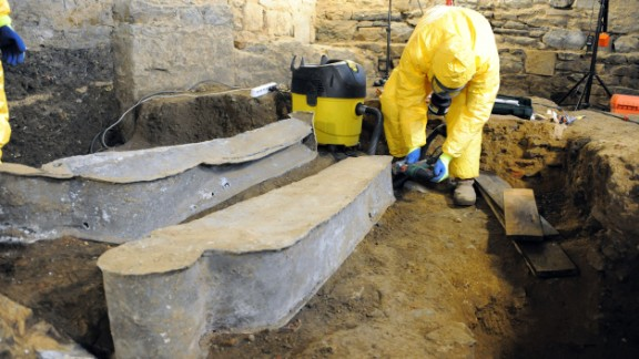 The coffin was first opened in March 2014. It was one of five -- among about 800 graves -- found at the site, which has housed the Convent of the Jacobins since the 12th century. Inscriptions allowed archaeologists to identify the nearly intact body.