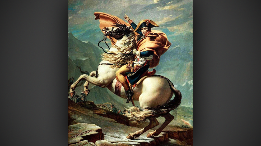 Much of his work focuses on reinterpreting classic works of art, like Jacques-Louis David's famous portrait of Napoleon crossing the Alps (next slide) atop his favorite horse, Marengo.
