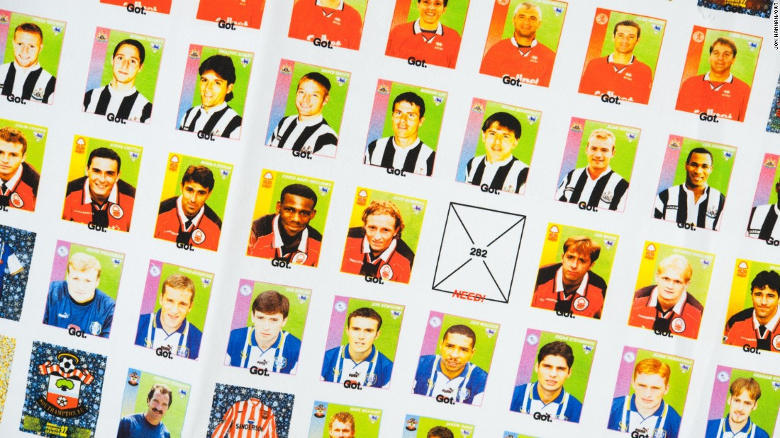 """Collecting football stickers is one of those obsessive things that young football fans do and which I think everyone has a memory of,"" says Byrne. Hannan's flag shows the schoolyard vernacular that exists around collecting."