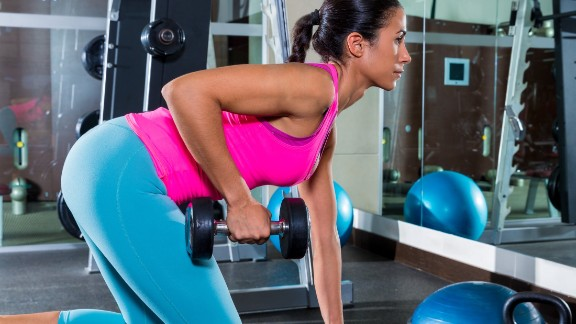 Bent-over row: Hinging from the waist causes your shoulders to roll forward, which can contribute to poor posture.