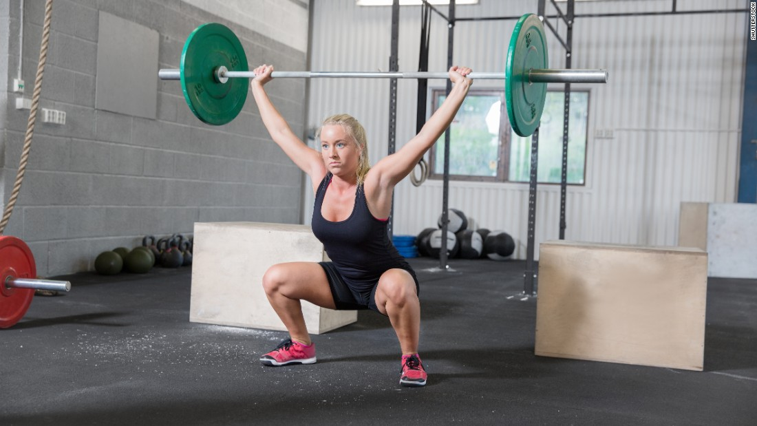 <strong>Overhead squat: </strong>The actual overhead motion adds strain to shoulder, cervical, thoracic and lumbar regions.