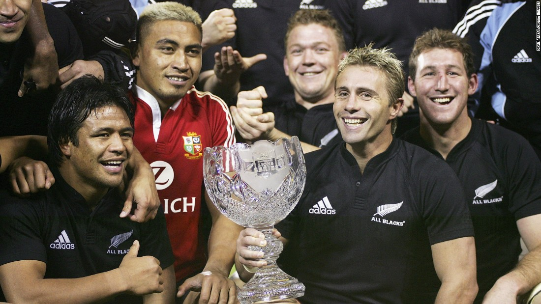 "Collins was a popular figure in the sport and Ospreys, another former club, said: ""He was his own man, a true individual and a giant of the world game. Jerry will be sadly missed by everybody in rugby, his family and friends."" Here he poses with the DHL Lions Series Trophy after the third test between the British and Irish Lions and the New Zealand All Blacks."