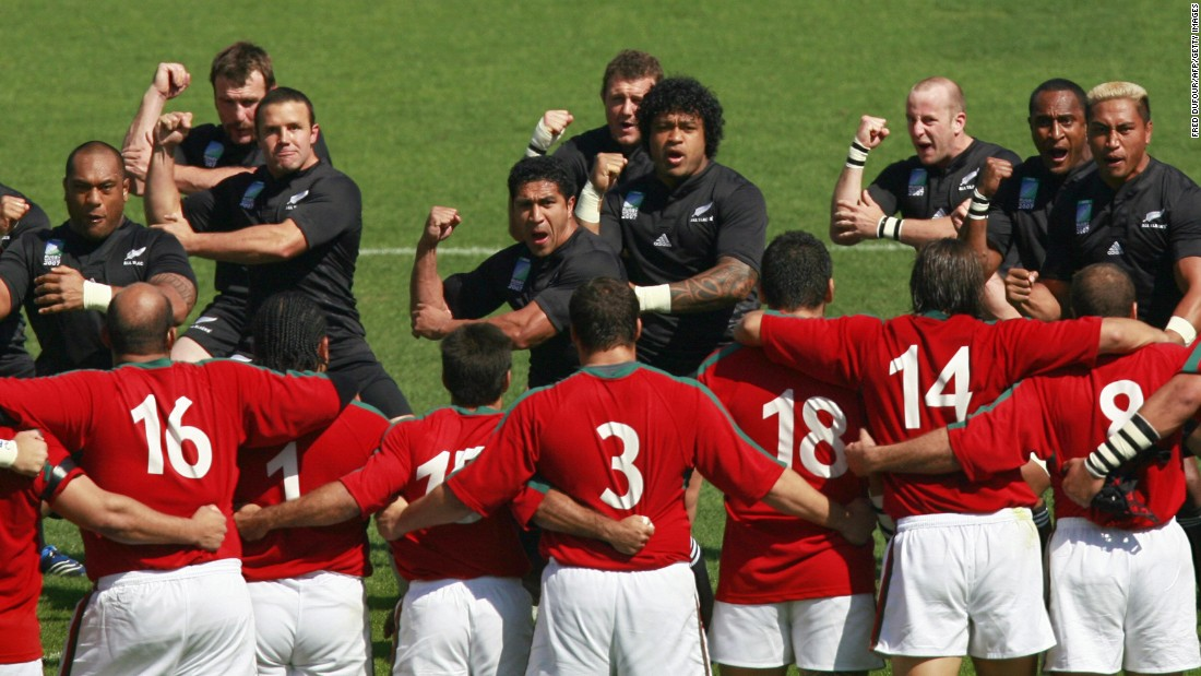 Collins, 34, made his New Zealand debut in 2001. Far right, he performs the haka with his teammates prior to the 2007 World Cup match against Portugal.