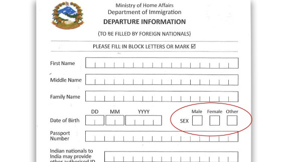 Nepal allows people to identify themselves as a third gender on its immigration forms.