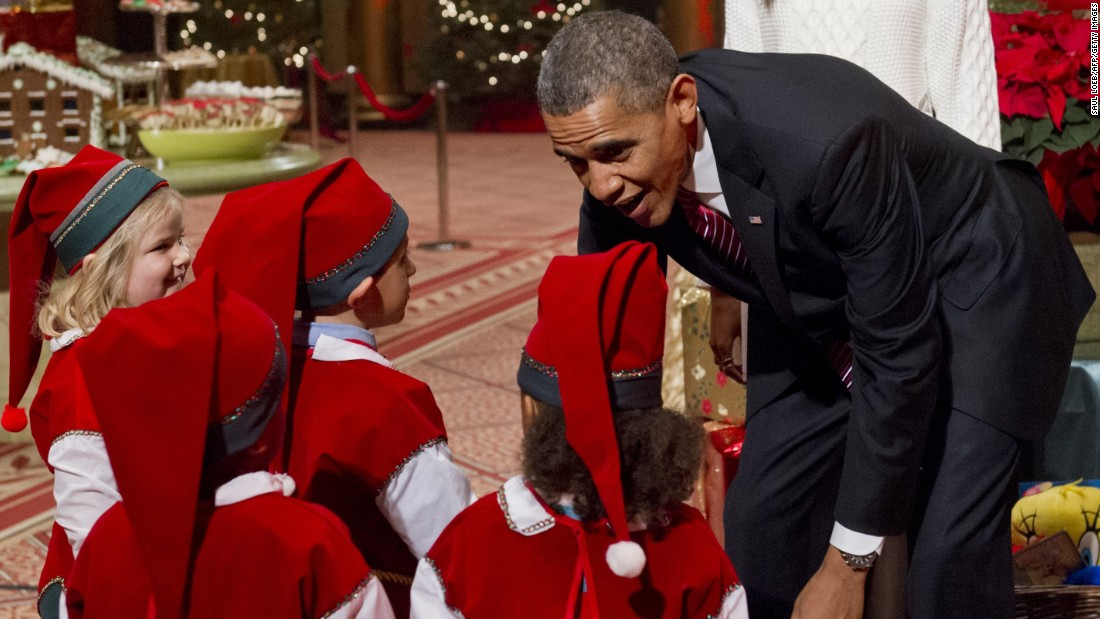 Obama speaks with children at Children's National Medical Center in December 2013.