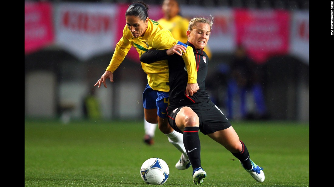 Forward Amy Rodriguez, right, has scored 29 goals in 123 appearances with the U.S. team. She started the first five matches of the 2011 World Cup.