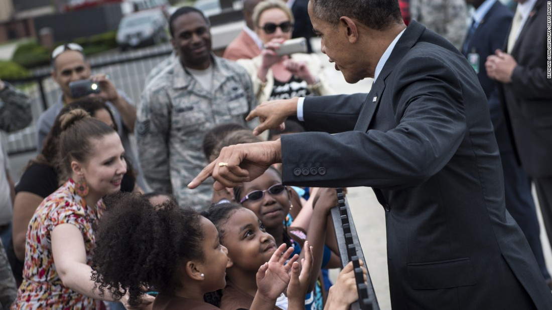 Obama greets Girl Scouts in Maryland in May 2014.