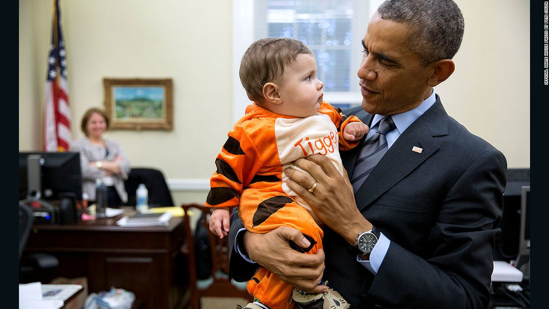 Obama stops by a Halloween party at the chief of staff's office in the West Wing of the White House in October.