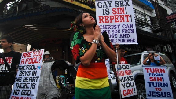 Christian demonstrators protest during a gay pride march in December, 2013, in Manila, Philippines.