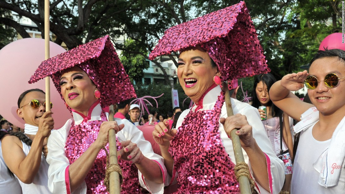 "Singaporeans dress in pink in support of gays and lesbians as they gather at ""Speakers' Corner"" in Singapore in June, 2014."