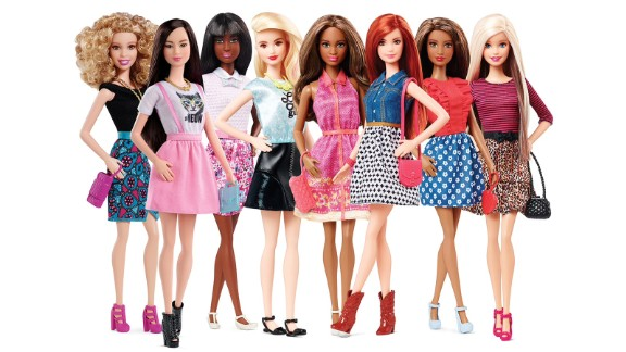 In 2015, the Barbie Fashionista line represented eight skin tones, 14 facial structures, 22 hairstyles, 23 hair colors and 18 eye colors.