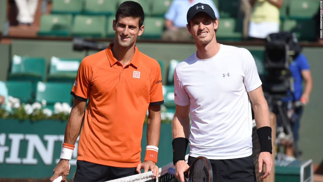 Buddies Novak Djokovic, left, and Andy Murray squared off in the French Open semis Friday. Djokovic had won seven in a row against the Scot.