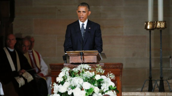 President Barack Obama delivers the eulogy in honor of Beau Biden on June 6.  The President struggled for composure at several points during his tribute.