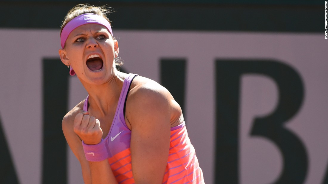 Lucie Safarova screams after winning a point in the 2015 French Open final. The Czech broke Williams to go 2-0 up early in the deciding set.