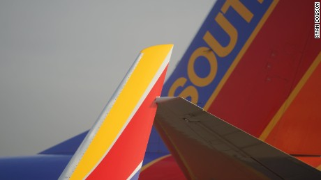 Passenger Ryan Dobson took this picture of a Southwest plane clipping another aircraft after push back.