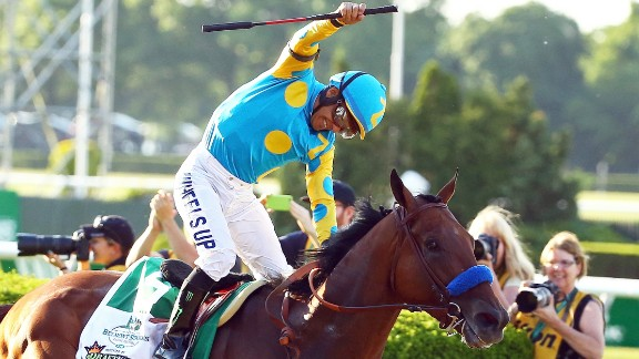 Kentucky Derby and Preakness Stakes winner American Pharoah wins the 147th running of the Belmont Stakes on Saturday, June 6, in New York to become the first horse to win the Triple Crown since Affirmed did so in 1978.