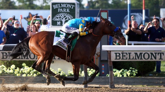 Kentucky Derby and Preakness Stakes winner American Pharoah wins the 147th running of the Belmont Stakes in New York on Saturday, June 6, to become the first horse to win the Triple Crown since Affirmed did so in 1978.