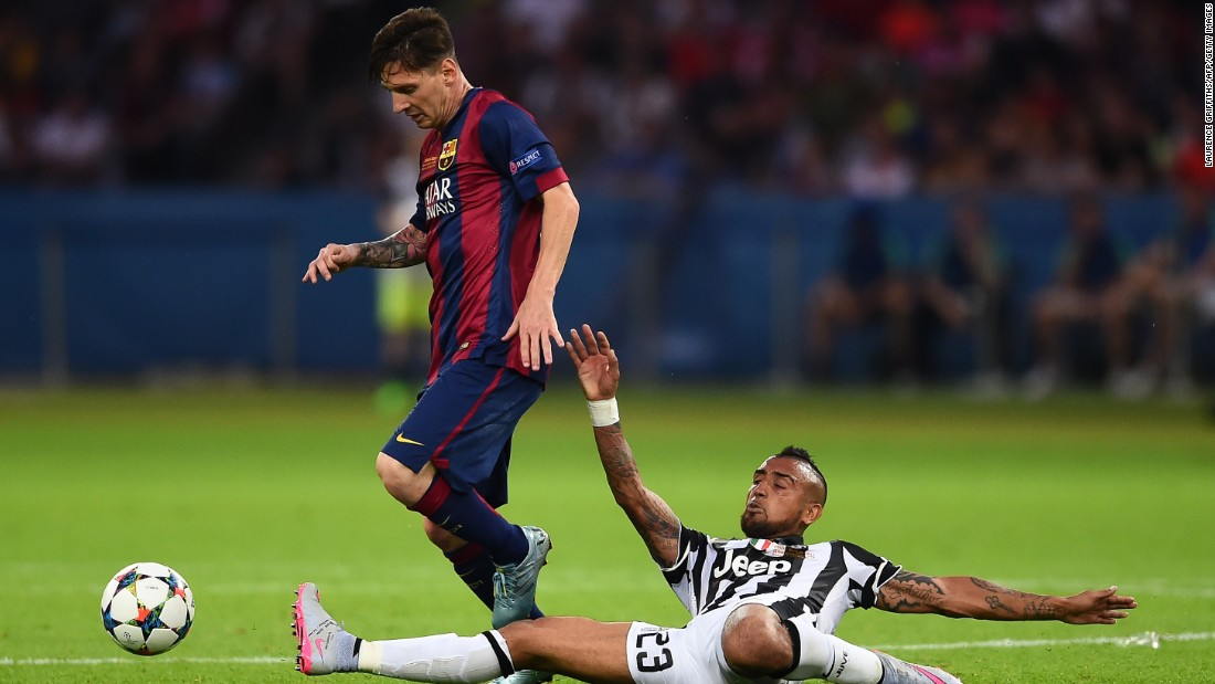 Vidal played for Juventus in the European Champions League final and he is seen here tackling Lionel Messi. Barca beat Juve 3-1.