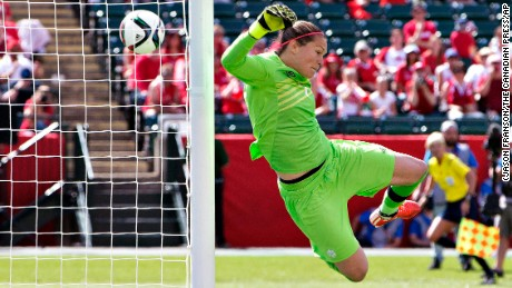 Canada's goalkeeper Erin McLeod makes a save on an attempt by China during the first match of the FIFA Women's World Cup in Edmonton, Alberta, Saturday, June 6, 2015. Canada defeated China 1-0.