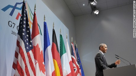 President Barack Obama speaks during a news conference in Germany on June 8, 2015, at the end of a G7 summit.