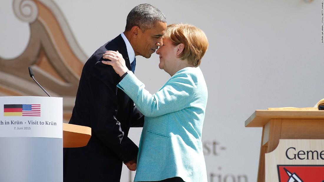 Obama and Merkel greet each other at a bilateral meeting on June 7.