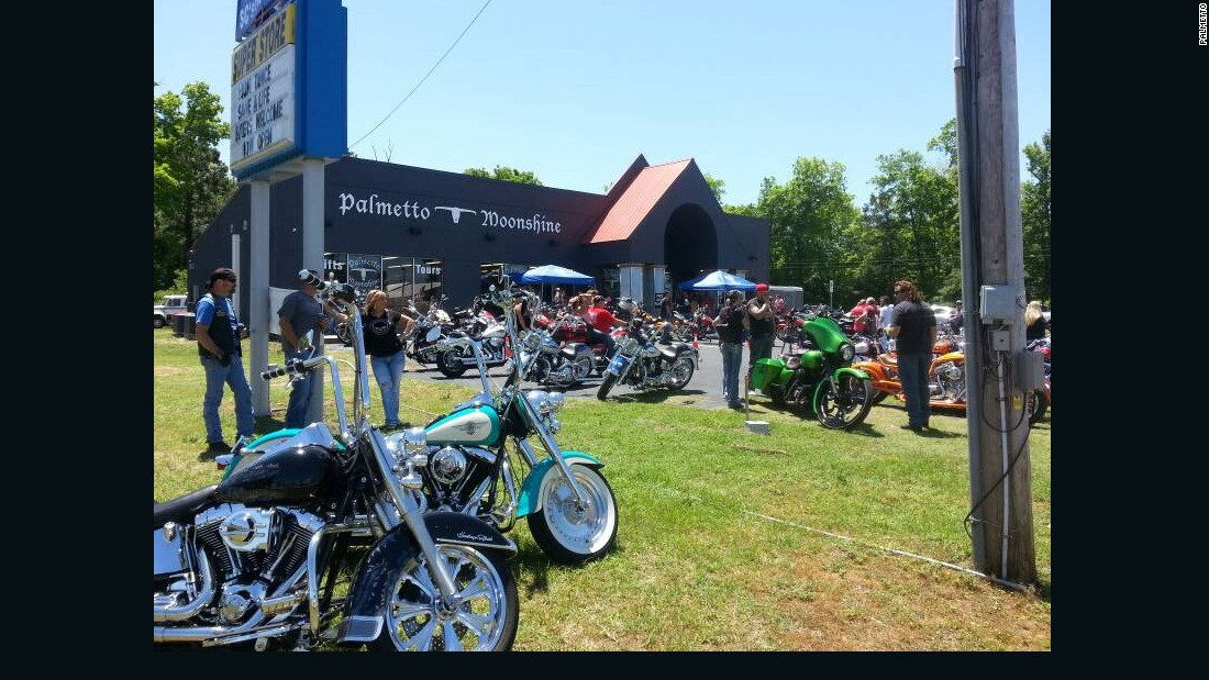 True to moonshine's outlaw past, the Palmetto superstore in South Carolina is popular with bikers.