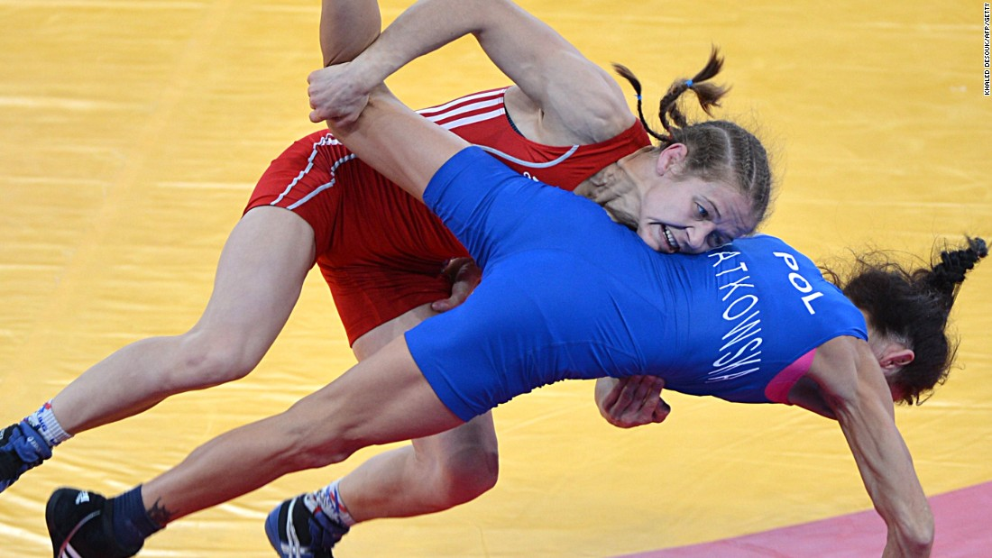 Mariya Stadnyk throws her quarterfinal opponent Nina Matkowski of Poland during her winning quarterfinal bout at the 2012 London Olympics.