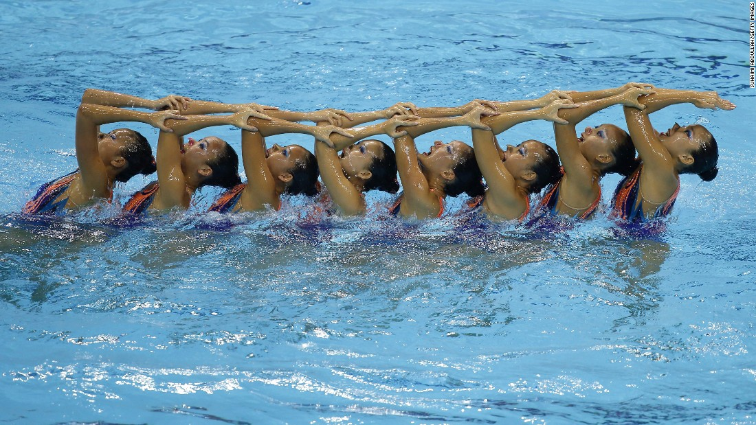 A synchronized swimming team from Singapore competes in the Southeast Asian Games on Wednesday, June 3. It finished in first place.