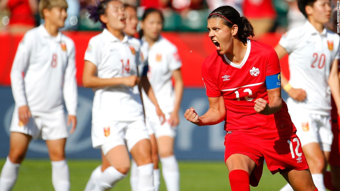 Canada's Christine Sinclair reacts after scoring a late penalty to defeat China 1-0 in the opening match of the Women's World Cup on Saturday, June 6. Canada is the tournament's host nation.