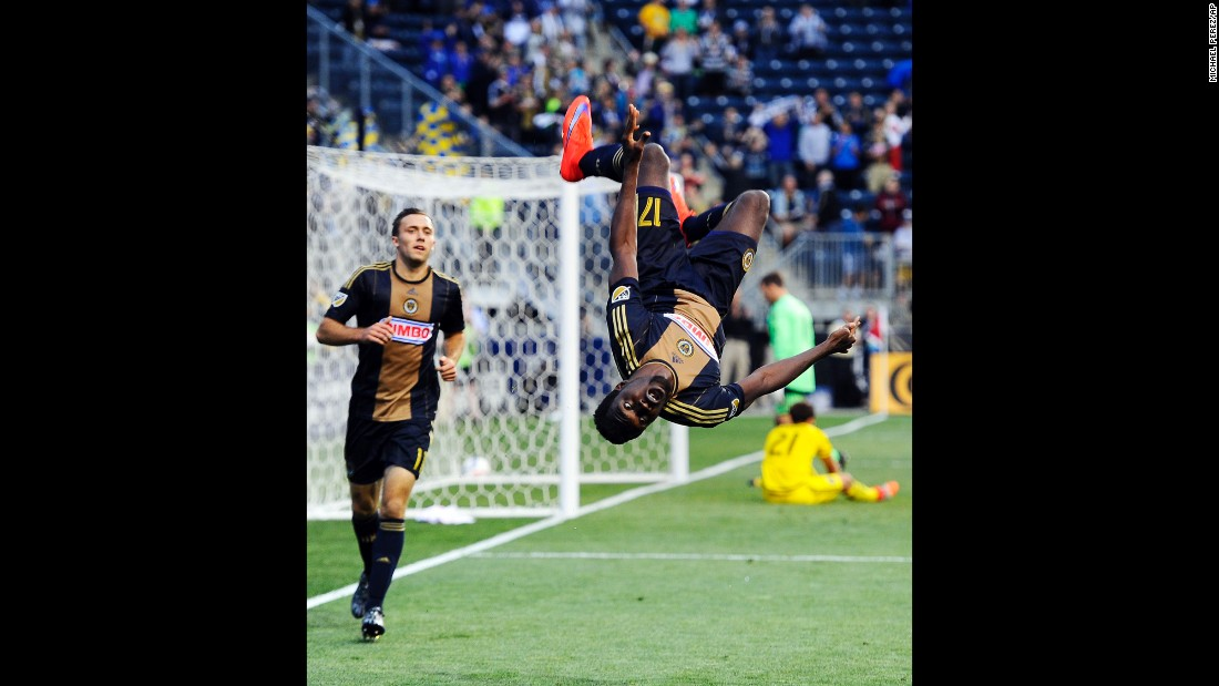 Philadelphia forward C.J. Sapong does a flip after scoring against Columbus during a Major League Soccer game played Wednesday, June 3, in Chester, Pennsylvania. Philadelphia won the match 3-0.