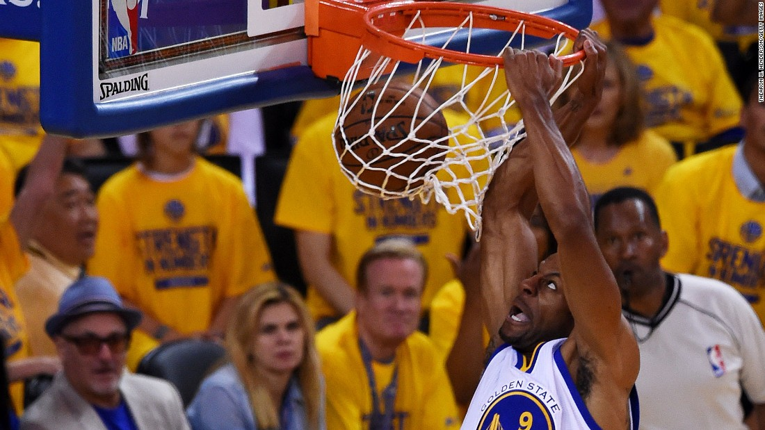Andre Iguodala throws down a dunk during Game 1 of the NBA Finals on Thursday, June 4. Iguodala scored 15 points in the Warriors' 108-100 victory and was widely praised for his defense on Cleveland star LeBron James.