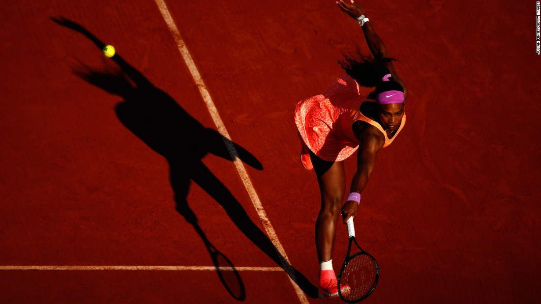 Serena Williams hits a backhand Thursday, June 4, while playing Timea Bacsinszky in the French Open semifinals.
