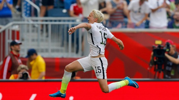 Rapinoe celebrates after scoring a goal against Australia in the team