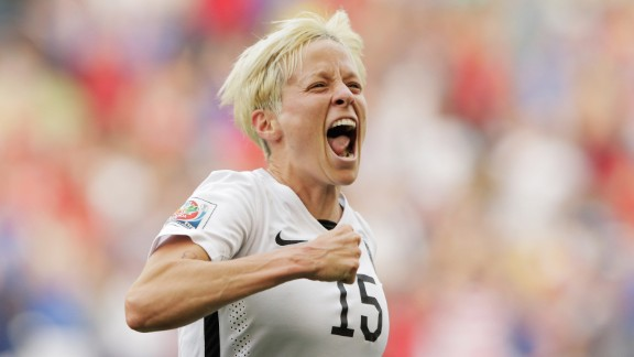 Megan Rapinoe of the United States celebrates June 8 after scoring the first goal against Australia in Winnipeg. Rapinoe scored twice in the match as the Americans won 3-1.