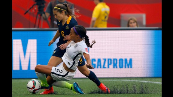 U.S. forward Sydney Leroux slides into Australia