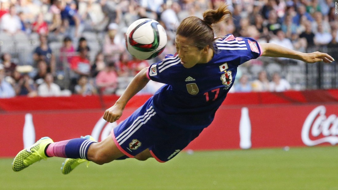 Japan's Yuki Ogimi directs a header during the first half of a Women's World Cup match against Switzerland on Monday, June 8. Japan won the match 1-0 in Vancouver.