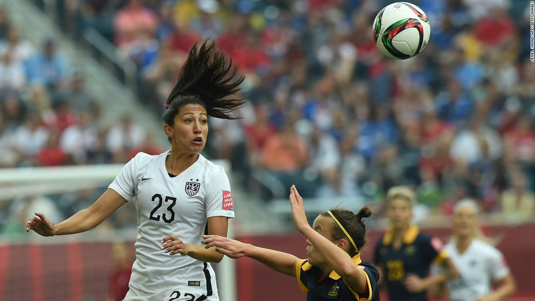 U.S. soccer player Christen Press heads the ball during a Women's World Cup match against Australia on Monday, June 8. Press scored a goal as the Americans won 3-1 in Winnipeg, Manitoba.