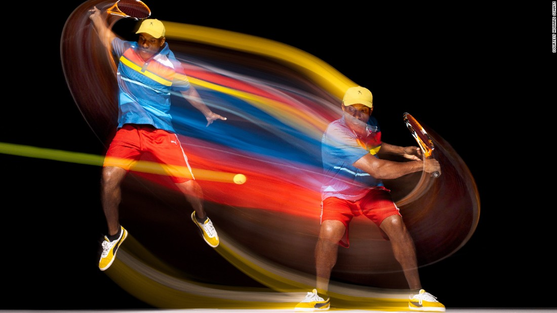 By capturing the colorful swinging motions in this image, Schatz is able to show movement in a static picture.
