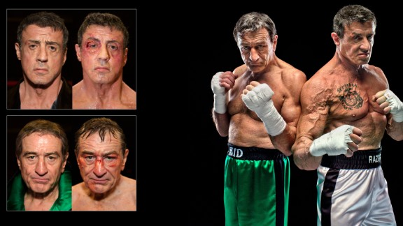 """No, your eyes aren't deceiving you, that is Robert De Niro and Sylvester Stallone as two bloodied and bruised boxers.<br />The remarkable images were taken as part of a special series documenting their 2013 film, """"The Grudge Match."""""""