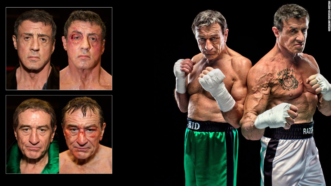 "No, your eyes aren't deceiving you, that is Robert De Niro and Sylvester Stallone as two bloodied and bruised boxers.<br />The remarkable images were taken as part of a special series documenting their 2013 film, ""The Grudge Match."""