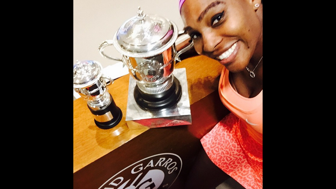 """Locker room selfie with my French open trophies!"" <a href=""https://instagram.com/p/3nbVRHMTIY/"" target=""_blank"">said tennis player Serena Williams</a> on Sunday, June 7. Williams has now won 20 Grand Slam titles in her career."