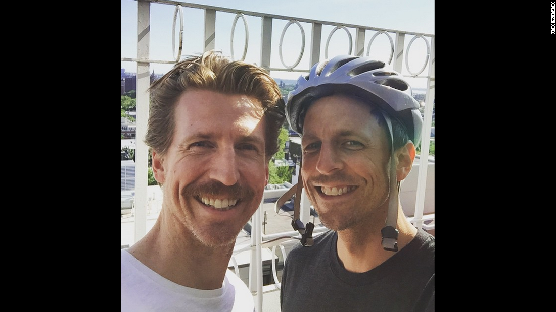 "Late-night television host Seth Meyers, right, takes a selfie with his brother, actor Josh Meyers, on Sunday, June 7. ""Good news! NBC ordered 'Mustache and Bike Helmet' to series!"" <a href=""https://instagram.com/p/3pIdp-Nsun/"" target=""_blank"">Seth joked on Instagram.</a>"