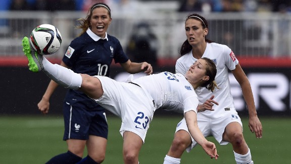England forward Ellen White kicks the ball during a match against France on June 9. France won the match 1-0 in Moncton.