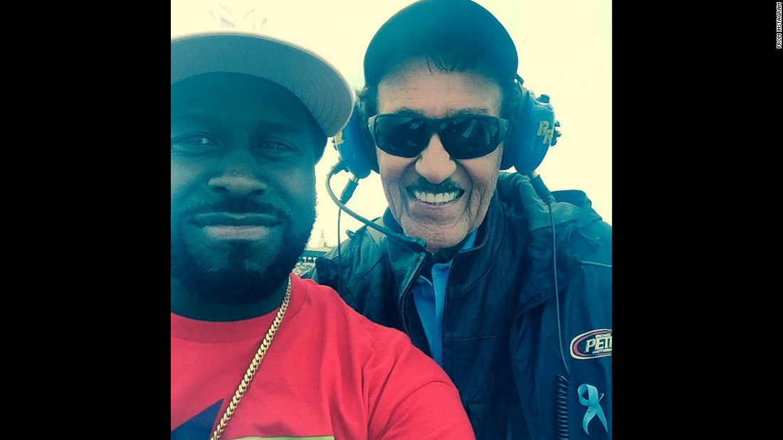"Hip-hop DJ Funkmaster Flex, left, takes a photo with NASCAR legend Richard Petty at Pennsylvania's Pocono Raceway on Sunday, June 7. ""MAN!!!! TO MEET THIS GUY TWICE IS SO AMAZING!!!!"" <a href=""https://instagram.com/p/3o9LUgwQzv/"" target=""_blank"">Flex said on Instagram.</a>"