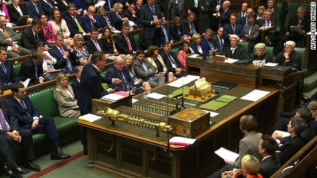 "In a still video grab taken from footage broadcast by the UK Parliaments Parliamentary Recording Unit (PRU) on June 3, 2015 British Prime Minister David Cameron gestures as he responds to a question during prime minister's question time in the House of Commons in London on June 3, 2015. RESTRICTED TO EDITORIAL USE - MANDATORY CREDIT "" AFP PHOTO / PRU "" - NO MARKETING NO ADVERTISING CAMPAIGNS - NO RESALE - NO DISTRIBUTION TO THIRD PARTIES - 24 HOURS USE - NO ARCHIVES-/AFP/Getty Images"