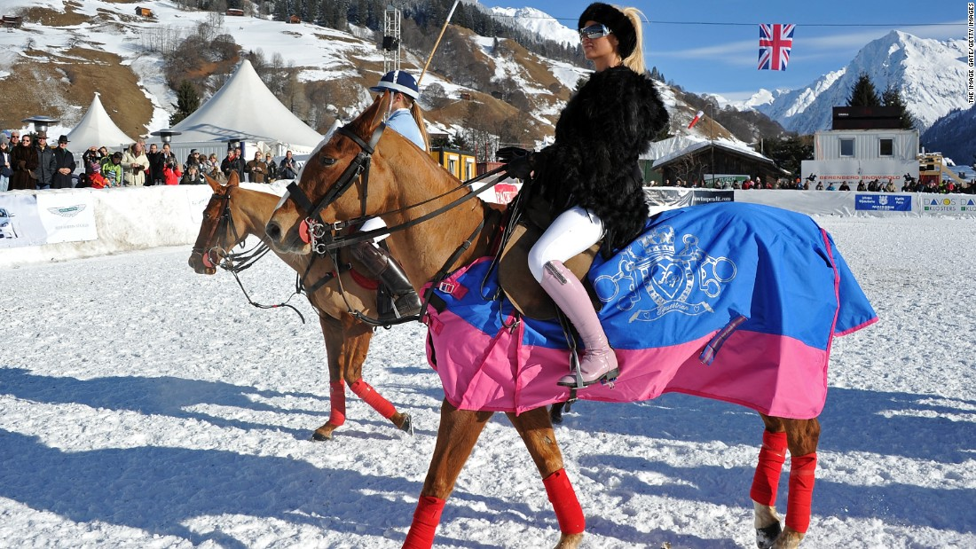 Businesswoman and model Katie Price, whose KP Equestrian line is now worth 80 percent of the total UK riding clothing market, attends a photocall at the Berenberg Snow-Polo event in Klosters, Switzerland.