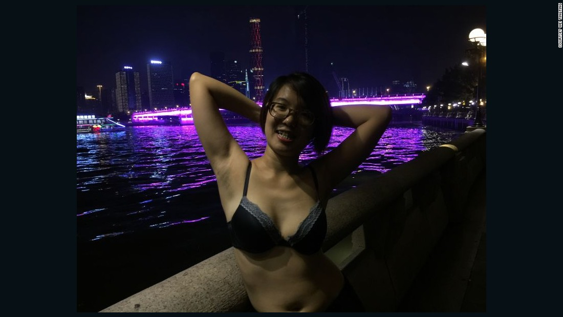 Wei Tingting, who was also arrested in March, joined her friends, showing off underarm hair along the Zhujiang River in Guangzhou.
